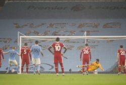 Soccer Football - Premier League - Manchester City v Liverpool - Etihad Stadium, Manchester, Britain - November 8, 2020 Manchester City's Kevin De Bruyne reacts after misses a penalty Pool via REUTERS/Martin Rickett EDITORIAL USE ONLY. No use with unauthorized audio, video, data, fixture lists, club/league logos or 'live' services. Online in-match use limited to 75 images, no video emulation. No use in betting, games or single club /league/player publications.  Please contact your account representative for further details.  X01348