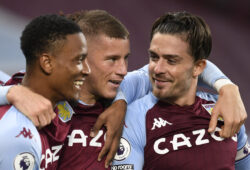 Aston Villa's Ross Barkley, center, celebrates with his teammates after he scores his side's fifth goal during the English Premier League soccer match between Aston Villa and Liverpool at the Villa Park stadium in Birmingham, England, Sunday, Oct. 4, 2020. (Peter Powell/Pool via AP)  HAS290