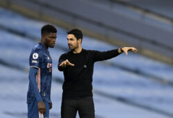 Arsenal's manager Mikel Arteta, right, gives instructions to Arsenal's Thomas Partey during the English Premier League soccer match between Manchester City and Arsenal at the Etihad stadium in Manchester, England, Saturday, Oct. 17, 2020. (Michael Regan/Pool via AP)  XDMV181