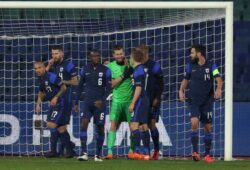 Mandatory Credit: Photo by Belish/Shutterstock (11017336s) Finland's team celebrates saving a goal during the UEFA Nations League group stage, League B, Group 4 match between Bulgaria and Finland. Bulgaria vs Finland - UEFA Nations League, Vasil Levski National Stadium, Sofia - 15 Nov 2020