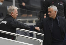 Tottenham's manager Jose Mourinho and West Ham's manager David Moyes, left, greet each other before the start of the English Premier League soccer match between Tottenham Hotspur and West Ham United at the Tottenham Hotspur Stadium in London, England, Sunday, Oct. 18, 2020. (Neill Hall/Pool via AP)  XAF120