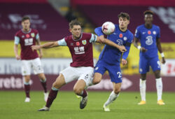 Burnley's James Tarkowski, left, competes for the ball with Chelsea's Kai Havertz during the English Premier League soccer match between Burnley and Chelsea at Turf Moor stadium in Burnley, England, Saturday, Oct. 31, 2020. (Alex Livesey/Pool via AP)  LKW134