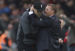 Leicester City's manager Brendan Rodgers, right, talks to Liverpool's manager Jurgen Klopp at the end of English Premier League soccer match between Liverpool and Leicester City in Anfield stadium in Liverpool, England, Saturday, Oct. 5, 2019. (AP Photo/Jon Super)  ASC141