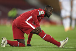 Liverpool's Naby Keita sits during the English Premier League soccer match between Liverpool and Leicester City at Anfield stadium in Liverpool, England, Sunday, Nov. 22, 2020. (Peter Powell/Pool via AP)  XPAG167