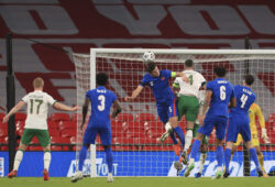 England's Harry Maguire, centre, scores his side's opening goal during the international friendly soccer match between England and Ireland at Wembley stadium in London, England, Thursday Nov. 12, 2020. (Mike Egerton/Pool via AP)  PW110