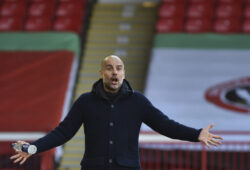 Manchester City's head coach Pep Guardiola reacts during the English Premier League soccer match between Sheffield United and Manchester City at Bramall Lane stadium in Sheffield, England, Saturday, Oct. 31, 2020. (AP Photo/Rui Vieira, Pool)  XDMV194