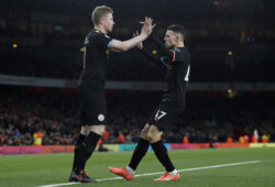 December 15, 2019, London, United Kingdom: Kevin De Bruyne of Manchester City celebrates scoring the first goal with Phil Foden during the Premier League match at the Emirates Stadium, London. Picture date: 15th December 2019. Picture credit should read: David Klein/Sportimage.