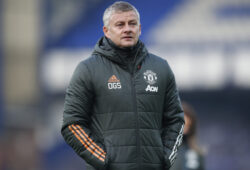 Manchester United's manager Ole Gunnar Solskjaer walks to the bench during the English Premier League soccer match between Everton and Manchester United at the Goodison Park stadium in Liverpool, England, Saturday, Nov. 7, 2020. (Clive Brunskill/Pool via AP)  XDB189