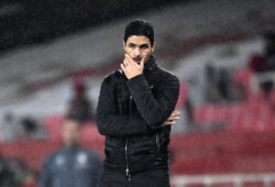 Arsenal's manager Mikel Arteta reacts during the English Premier League soccer match between Arsenal and Aston Villa at the Emirates stadium in London, Sunday, Nov. 8, 2020. (Andy Rain/Pool via AP)  XDMV184