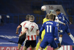 Chelsea's Thiago Silva, right, scores his side's third goal during the English Premier League soccer match between Chelsea and Sheffield United at Stamford Bridge Stadium in London, Saturday, Nov. 7, 2020. (Mike Hewitt/Pool via AP)  XDMV199
