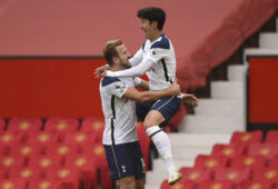 Tottenham's Son Heung-min, right, celebrates with Harry Kane after scoring his side's second goal during the English Premier League soccer match between Manchester United and Tottenham Hotspur at Old Trafford in Manchester, England, Sunday, Oct. 4, 2020. (Oli Scarff/Pool via AP)  XAF129