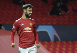 Soccer Football - Champions League - Group H - Manchester United v Istanbul Basaksehir - Old Trafford, Manchester, Britain - November 24, 2020 Manchester United's Bruno Fernandes celebrates scoring their first goal REUTERS/Toby Melville  X90004