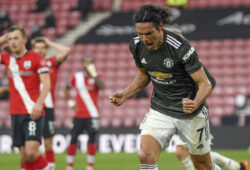 Manchester United's Edinson Cavani celebrates after scoring his side's second goal during an English Premier League soccer match between Southampton and Manchester United at the St. Mary's stadium in Southampton, England, Sunday, Nov. 29, 2020. (Mike Hewitt, Pool via AP)  FP206
