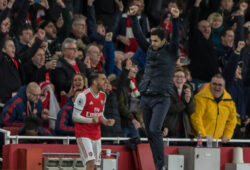 Football - 2019 / 2020 Premier League - Arsenal vs. Everton Mikel Arteta, Manager of Arsenal FC, and Dani Ceballos Arsenal FC celebrate as the final whistle blows at The Emirates Stadium. COLORSPORT/DANIEL BEARHAM PUBLICATIONxNOTxINxUK csparseve230220