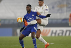Kelechi Iheanacho of Leicester City holds off David Carmo of Sporting Braga during the UEFA Europa League match at the King Power Stadium, Leicester. Picture date: 5th November 2020. Picture credit should read: Darren Staples/Sportimage PUBLICATIONxNOTxINxUK SPI-0746-0033