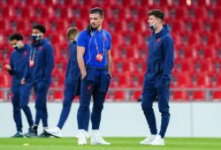 Mandatory Credit: Photo by Javier Garcia/BPI/Shutterstock (10769410d) Jack Grealish and Mason Mount of England inspect the pitch alongside the England squad before kick-off Denmark v England, UEFA Nations League - Group A2, International Football, Telia Parken, Copenhagen, Denmark - 08 Sep 2020