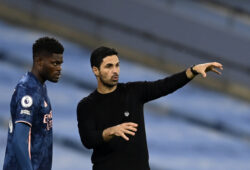 Arsenal's manager Mikel Arteta, right, gives instructions to Arsenal's Thomas Partey during the English Premier League soccer match between Manchester City and Arsenal at the Etihad stadium in Manchester, England, Saturday, Oct. 17, 2020. (Michael Regan/Pool via AP)  XDMV182