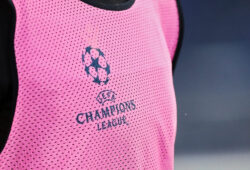 A detail of the Champions League logo on Lazio t-shirt during warm up before the UEFA Champions League, Group F football match between SS Lazio and Club Brugge KV on December 8, 2020 at Stadio Olimpico in Rome, Italy - Photo Federico Proietti / DPPI / LM/Sipa USA