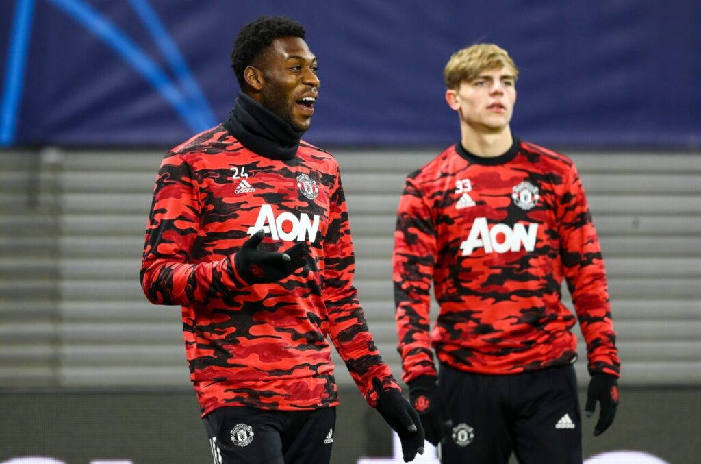 Mandatory Credit: Photo by Ibrahim Ot/Shutterstock (11354103o) Timothy Fosu-Mensah of Manchester United and Brandon Williams of Manchester United warm up RB Leipzig v Manchester United, UEFA Champions League Group H, Football, Red Bull Arena, Leipzig, Germany - 08 Dec 2020