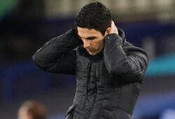 Soccer Football - Premier League - Everton v Arsenal - Goodison Park, Liverpool, Britain - December 19, 2020 Arsenal manager Mikel Arteta looks dejected after the match Pool via REUTERS/Jon Super EDITORIAL USE ONLY. No use with unauthorized audio, video, data, fixture lists, club/league logos or 'live' services. Online in-match use limited to 75 images, no video emulation. No use in betting, games or single club /league/player publications.  Please contact your account representative for further details.  X01545