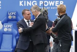 July 26, 2020, Leicester, United Kingdom: Leicester City manager Brendan Rodgers shakes hands with Manchester United manager Ole Gunnar Solskjaer after the Premier League match at the King Power Stadium, Leicester. Picture date: 26th July 2020. Picture credit should read: Darren Staples/Sportimage. 26 Jul 2020 Pictured: July 26, 2020, Leicester, United Kingdom: Leicester City manager Brendan Rodgers shakes hands with Manchester United manager Ole Gunnar Solskjaer after the Premier League match at the King Power Stadium, Leicester. Picture date: 26th July 2020. Picture credit should read: Darren Staples/Sportimage. Photo credit: ZUMAPRESS.com / MEGA  TheMegaAgency.com +1 888 505 6342