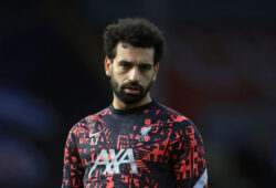 Liverpool's Mohamed Salah looks out during the warm up before the English Premier League soccer match between Crystal Palace and Liverpool at Selhurst Park stadium in London, Saturday, Dec. 19, 2020. (Adam Davy/Pool via AP)  XDMV111