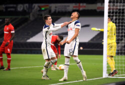 Tottenham Hotspur's Carlos Vinicius celebrates scoring his side's first goal of the game during the UEFA Europa League Group J match at The Tottenham Hotspur Stadium, London. (Photo by Adam Davy/Belga/Sipa USA)