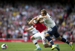 "?????????2019?9?1?     ?????1??????????????????????       9?1???????????????????Arsenal?s Sokratis???       ????2019/2020???????????????????????????????2?2??????????       ???????? (SP) BRITAIN-LONDON-FOOTBALL-PREMIER LEAGUE-ARSENAL VS TOTTENHAM HOTSPUR  (190901) -- LONDON, Sept. 1, 2019 (Xinhua) -- Tottenham Hotspur?s Harry Kane (R) vies with Arsenal?s Sokratis during the English Premier League north London Derby match between Arsenal and Tottenham Hotspur at Stamford Bridge in London, Britain on Sept. 1, 2019. (Xinhua/Han Yan)  FOR EDITORIAL USE ONLY. NOT FOR SALE FOR MARKETING OR ADVERTISING CAMPAIGNS. NO USE WITH UNAUTHORIZED AUDIO, VIDEO, DATA, FIXTURE LISTS, CLUB/LEAGUE LOGOS OR ""LIVE"" SERVICES. ONLINE IN-MATCH USE LIMITED TO 45 IMAGES, NO VIDEO EMULATION. NO USE IN BETTING, GAMES OR SINGLE CLUB/LEAGUE/PLAYER PUBLICATIONS. ?????????????????????? (Photo by Xinhua/Sipa USA)"