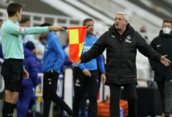 Newcastle's head coach Steve Bruce reacts during the English Premier League soccer match between Newcastle United v Chelsea at the St. James' Park in Newcastle, England, Saturday, Nov. 21, 2020. (Owen Humphreys/Pool via AP)  XDB151