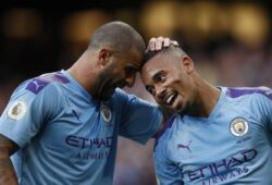 Gabriel Jesus and Kyle Walker of Manchester City during the Premier League match at the Etihad Stadium, Manchester. Picture date: 17th August 2019. Picture credit should read: Simon Bellis/Sportimage PUBLICATIONxNOTxINxUK SPI-0153-0098