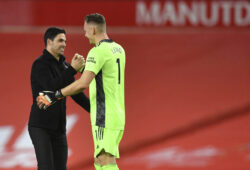 Arsenal's manager Mikel Arteta, left, celebrates with Arsenal's goalkeeper Bernd Leno end of the English Premier League soccer match between Manchester United and Arsenal at the Old Trafford stadium in Manchester, England, Sunday, Nov. 1, 2020. (Paul Ellis/Pool via AP)  HAS223