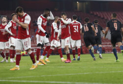 Arsenal players react after a goal from Manchester City's Riyad Mahrez, not pictured, during the English League Cup quarterfinal soccer match between Arsenal and Manchester City at Emirates Stadium, London, Tuesday, Dec. 22, 2020. (AP Photo/Frank Augstein)  XMB131