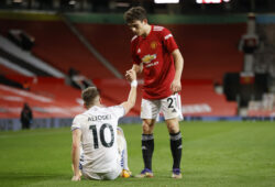 Soccer Football - Premier League - Manchester United v Leeds United - Old Trafford, Manchester, Britain - December 20, 2020 Manchester United's Daniel James and Leeds United's Ezgjan Alioski after the match Pool via REUTERS/Clive Brunskill EDITORIAL USE ONLY. No use with unauthorized audio, video, data, fixture lists, club/league logos or 'live' services. Online in-match use limited to 75 images, no video emulation. No use in betting, games or single club /league/player publications.  Please contact your account representative for further details.  X01348
