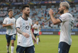 Argentina's Sergio Aguero, right, celebrates with his teammate Lionel Messi after scoring their side's second goal against Qatar during a Copa America Group B soccer match at Arena do Gremio in Porto Alegre, Brazil, Sunday, June 23, 2019. (AP Photo/Silvia Izquierdo)