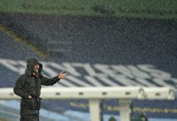 Manchester City's head coach Pep Guardiola stands on the touchline during the English Premier League soccer match between Manchester City and Newcastle United at the Etihad stadium in Manchester, Saturday, Dec. 26, 2020. (AP Photo/Dave Thompson, Pool)  TH149