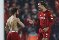 Mohamed Salah of Liverpool celebrates scoring the second goal with Virgil van Dijk of Liverpool during the Premier League match at Anfield, Liverpool. Picture date: 19th January 2020. Picture credit should read: Darren Staples/Sportimage PUBLICATIONxNOTxINxUK SPI-0443-0070