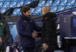 December 9, 2020, Manchester, United Kingdom: Andre Villas-Boas manager of Marseille greets Josep Guardiola manager of Manchester City during the UEFA Champions League match at the Etihad Stadium, Manchester. Picture date: 9th December 2020. Picture credit should read: Andrew Yates/Sportimage.