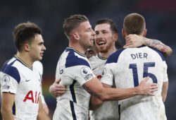 Tottenham players celebrate after the English Premier League soccer match between Tottenham Hotspur and Arsenal at Tottenham Hotspur Stadium in London, England, Sunday, Dec. 6, 2020. (Paul Childs/Pool via AP)  PDJ170